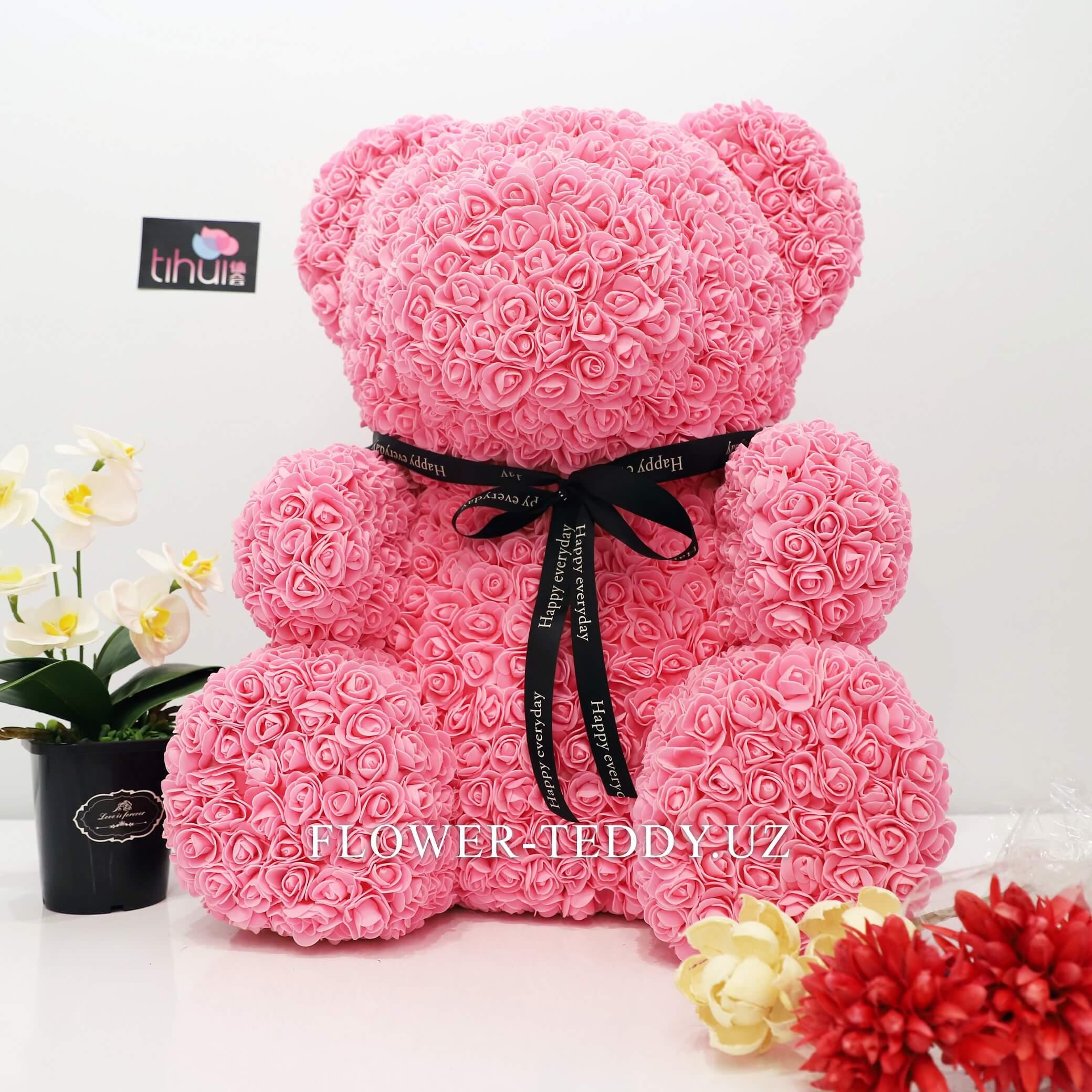 Розовый мишка из роз - 65 см