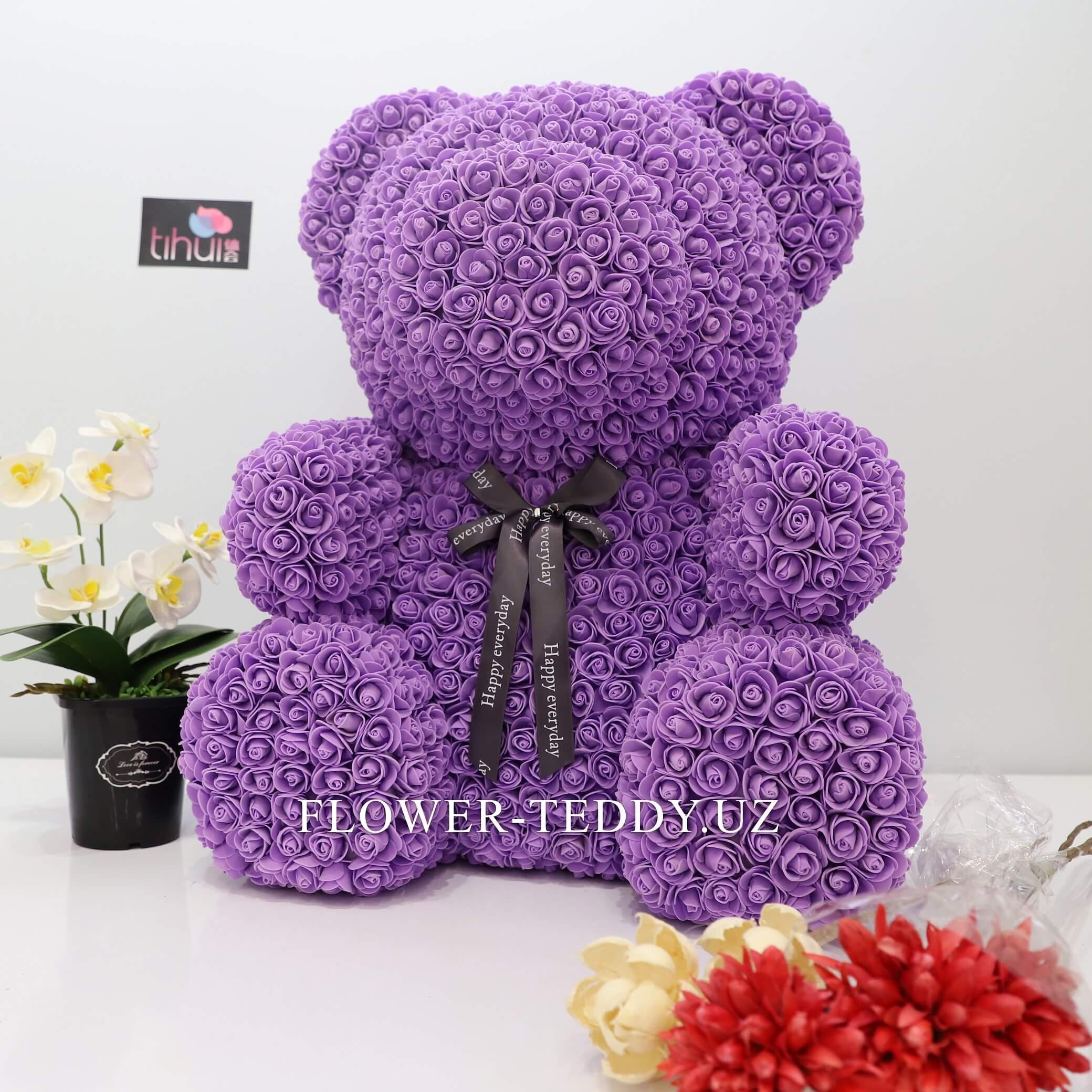 Фиолетовый мишка из роз - 65 см